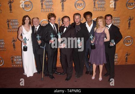 LOS ANGELES, CA. February 05, 2005:  CSI stars JORJA FOX, ROBERT DAVID HALL, ERIC SZMANDA, PAUL GUILFOYLE, WILLIAM PETERSEN, GARY DOURDAN, MARG HELGENBERGER & GEORGE EADS at the 11th Annual Screen Actors Guild Awards at the Shrine Auditorium. - Stock Photo