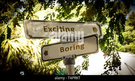 Street Sign Exciting versus Boring - Stock Photo