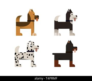 Dogs stand. Doberman, shepherd, husky and dalmatian gives a paw. Vector illustration. Flat icons set. - Stock Photo