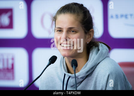 DOHA, QATAR - FEBRUARY 13 : Julia Goerges of Germany at the 2018 Qatar Total Open WTA Premier tennis tournament - Stock Photo