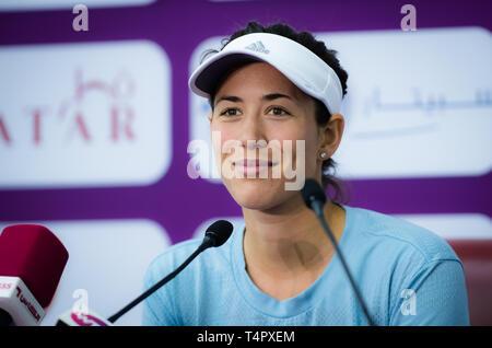 DOHA, QATAR - FEBRUARY 13 : Garbine Muguruza of Spain at the 2018 Qatar Total Open WTA Premier tennis tournament - Stock Photo
