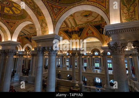 Library of Congress Great Hall, Washington, DC - Stock Photo