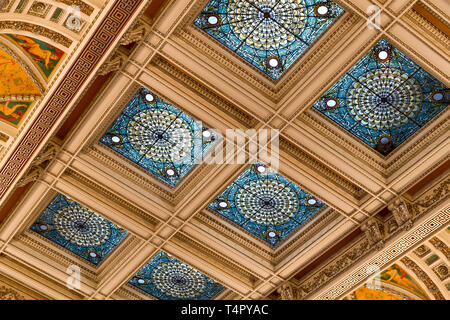 Library of Congress Great Hall Ceiling, Washington, DC - Stock Photo