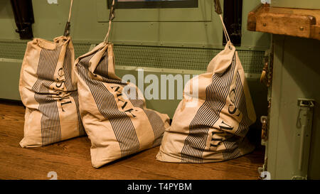 Mail Bags in Mail Train Car - Stock Photo