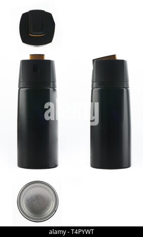 Generic black spray bottle different view isolated - Stock Photo
