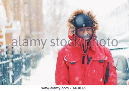 man in red and brown fur coat - Stock Photo