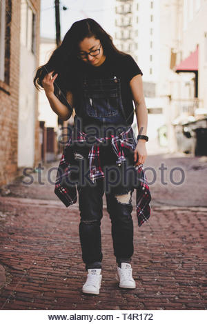 woman looking down - Stock Photo
