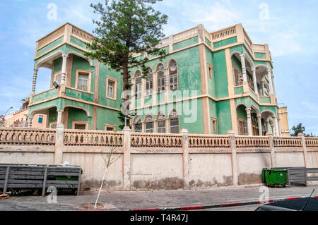 The Green House in Yefet and Shivtei Israel Streets, Jaffa, Israel The original owners fled Palestine in 1948. Now it is used as the IDF military cour - Stock Photo