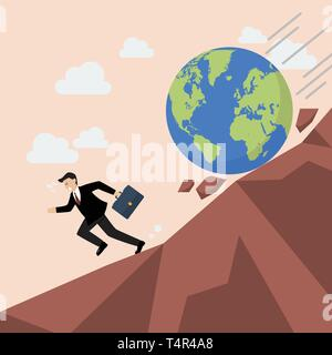 Businessman running away from planet earth that is rolling down to him. Climate change concept - Stock Photo