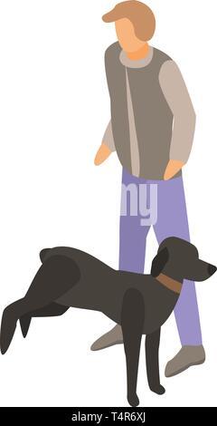 Black dog training icon, isometric style - Stock Photo