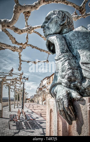 Cardinal Cisneros, (1436-1517), statue in the Paseo del Espolon, one of the most emblematic and beautiful places of Roa de Duero, a historic village i - Stock Photo