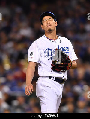 Kenta Maeda of the Los Angeles Dodgers in action during the Major League Baseball game against the Cincinnati Reds at Dodger Stadium in Los Angeles, United States, April 16, 2019. Credit: AFLO/Alamy Live News - Stock Photo