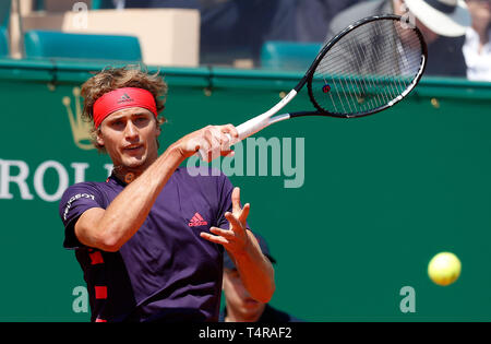 Roquebrune Cap Martin, France. 17th Apr, 2019. Alexander Zverev of Germany hits a return during the singles second match against Felix Auger-Aliassime of Canada at the Monte-Carlo Rolex Masters tennis tournament in Roquebrune Cap Martin, France, April 17, 2019. Credit: Nicolas Marie/Xinhua/Alamy Live News - Stock Photo