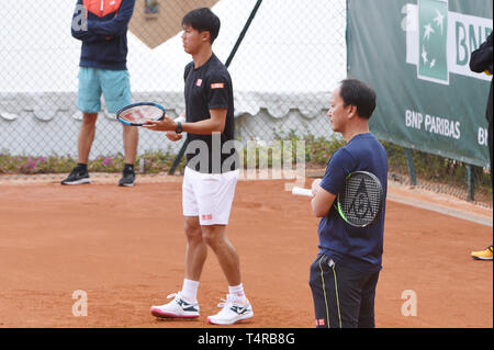 Roquebrune Cap Martin, France. 16th Apr, 2019. Kei Nishikori (JPN) Tennis : Practice session during Monte Carlo Masters at Monte Carlo Country Club in Roquebrune Cap Martin, France . Credit: Itaru Chiba/AFLO/Alamy Live News - Stock Photo