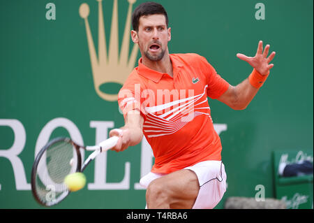 Roquebrune Cap Martin, France. 16th Apr, 2019. Novak Djokovic (SRB) Tennis : Men's Singles 2nd Round match during Monte Carlo Masters at Monte Carlo Country Club in Roquebrune Cap Martin, France . Credit: Itaru Chiba/AFLO/Alamy Live News - Stock Photo