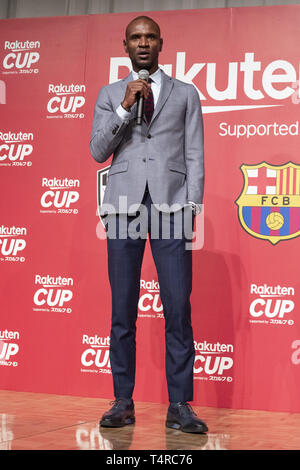 Tokyo, Japan. 18th Apr, 2019. Eric Abidal, the Technical Secretary and former player of FC Barcelona, speaks during a news conference in Tokyo. Rakuten announced friendly football matches between FC Barcelona, Chelsea FCJ and Japan's Vissel Kobe in July. FC Barcelona will play against Chelsea FC in Saitama on July 23 and Vissel Kobe in July 27 in Kobe. Credit: Rodrigo Reyes Marin/ZUMA Wire/Alamy Live News - Stock Photo