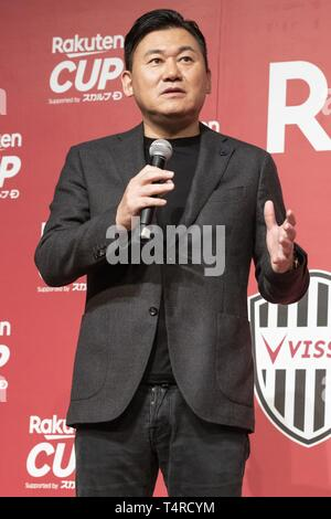 Tokyo, Japan. 18th Apr, 2019. Rakuten President and CEO Hiroshi Mikitani speaks during a news conference in Tokyo. Rakuten announced friendly football matches between FC Barcelona, Chelsea FCJ and Japan's Vissel Kobe in July. FC Barcelona will play against Chelsea FC in Saitama on July 23 and Vissel Kobe in July 27 in Kobe. Credit: Rodrigo Reyes Marin/ZUMA Wire/Alamy Live News - Stock Photo