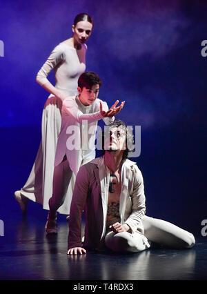 Prague, Czech Republic. 17th Apr, 2019. Ukrainian-born ballet dancer Sergei Polunin (right) performs during his show called Satori, on April 17, 2019, in Prague, Czech Republic. Credit: Roman Vondrous/CTK Photo/Alamy Live News - Stock Photo