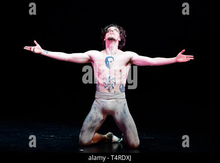 Prague, Czech Republic. 17th Apr, 2019. Ukrainian-born ballet dancer Sergei Polunin performs during his show called Satori, on April 17, 2019, in Prague, Czech Republic. Credit: Roman Vondrous/CTK Photo/Alamy Live News - Stock Photo
