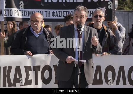 Athens, Greece. 18th Apr, 2019. KOSTAS PAPADAKIS, one of the case lawyers addresses protesters as they gathered outside the court to demand Golden Dawn's conviction, marking four years since the trial of the Greek neo-nazi party begun. The trial of Golden Dawn with almost 70 defendants, accusations such as criminal organization, murder, possession of weapons and racist violence, begun in April 2015 and is still ongoing. Credit: Nikolas Georgiou/ZUMA Wire/Alamy Live News - Stock Photo
