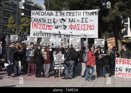 Athens, Greece. 18th Apr, 2019. Marking four years since the trial of the Greek neo-nazi party begun, leftist and anti-racism organizations protest outside the court were the trial is taking place and demand conviction of the neo-nazi party. The trial of Golden Dawn with almost 70 defendants, accusations such as criminal organization, murder, possession of weapons and racist violence, begun in April 2015 and is still ongoing. Credit: Nikolas Georgiou/ZUMA Wire/Alamy Live News - Stock Photo