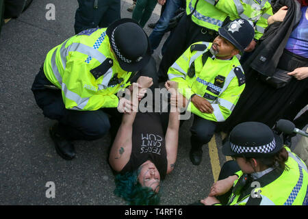 Waterloo Bridge. London, UK. 18th Apr, 2019. An environmental activist from Extinction Rebellion movement group is arrested by the police on Waterloo Bridge on the fourth day of their climate change protest. Credit: Dinendra Haria/Alamy Live News - Stock Photo