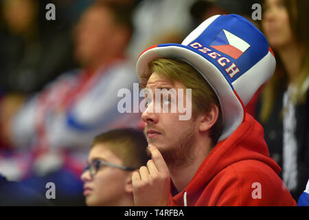 Czech fan is seen during the Euro Hockey Challenge match Czech Republic vs Germany in Karlovy Vary, Czech Republic, April 18, 2019. (CTK Photo/Slavomir Kubes) - Stock Photo