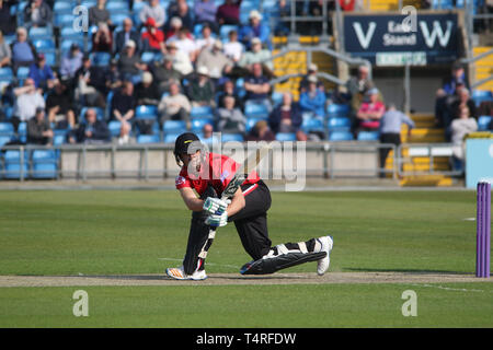 Leeds, UK. 17th Apr, 2019. Colin Ackermann batting during the ECB Royal London One-Day Cup match between Yorkshire CCC v Leicestershire CCC at Yorkshire Cricket Ground, Leeds, England on 17 April 2019. Photo by John Mallett. Editorial use only, license required for commercial use. No use in betting, games or a single club/league/player publications. Credit: UK Sports Pics Ltd/Alamy Live News - Stock Photo