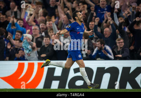 London, UK. 18th Apr, 2019. PEDRO of Chelsea celebrates scoring his 3rd goal during the UEFA Europa League match between Chelsea and Slavia Prague at Stamford Bridge, London, England on 18 April 2019. Photo by Andy Rowland/PRiME Media Images. Editorial use only, license required for commercial use. No use in betting, games or a single club/league/player publications.Õ Credit: PRiME Media Images/Alamy Live News - Stock Photo