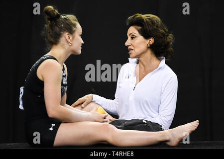 Fort Worth, Texas, USA. 18th Apr, 2019. VALERIE KONDOS-FIELD from UCLA talks with NORAH FLATLEY during podium training held at the Fort Worth Convention Center in Fort Worth, Texas. Credit: Amy Sanderson/ZUMA Wire/Alamy Live News - Stock Photo