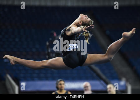 Fort Worth, Texas, USA. 18th Apr, 2019. PAULINE TRATZ from UCLA practices on the floor exercise during podium training held at the Fort Worth Convention Center in Fort Worth, Texas. Credit: Amy Sanderson/ZUMA Wire/Alamy Live News - Stock Photo