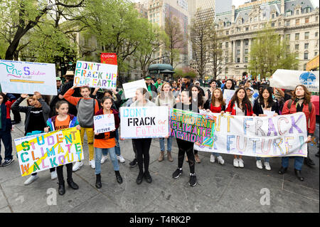 Protesters seen holding placards and a banner while asking to stop the construction of the Williams natural gas pipeline (aka 'Northeast Supply Enhancement (NESE) Pipeline') during a demonstration held on Centre Street adjacent to City Hall Park in New York City. - Stock Photo