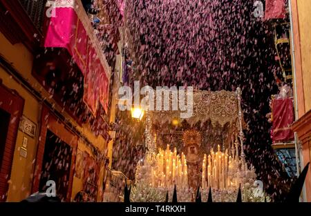 Petals are thrown from the balconies as the Virgin of Esperanza de Triana leaves its temple at the neighborhood of Triana during the 'Madruga' (lit: Small Hours) processions in Seville, Spain, 19 April 2019. EFE/ Julio Munoz - Stock Photo