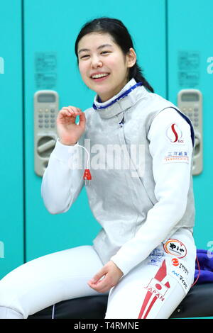 the JISS, Tokyo, Japan. 19th Apr, 2019. Karin Miyawaki (JPN), APRIL 19, 2019 - Fencing : Japan National Team Training Session at the JISS, Tokyo, Japan. Credit: Naoki Nishimura/AFLO SPORT/Alamy Live News - Stock Photo