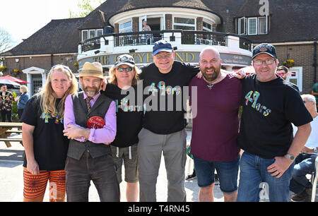 Crawley Sussex, UK. 19th Apr, 2019. The Handcross 49ers team competing in the World Marbles Championship held at The Greyhound pub at Tinsley Green near Crawley in Sussex . The annual event has been held on Good Friday every year since the 1930s and is open to players from around the world Credit: Simon Dack/Alamy Live News - Stock Photo