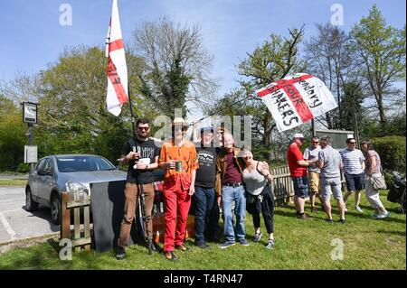 Crawley Sussex, UK. 19th Apr, 2019. The Fifty Four Shack Shakers in the World Marbles Championship held at The Greyhound pub at Tinsley Green near Crawley in Sussex . The annual event has been held on Good Friday every year since the 1930s and is open to players from around the world Credit: Simon Dack/Alamy Live News - Stock Photo