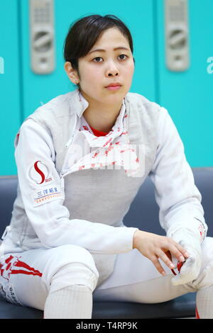 the JISS, Tokyo, Japan. 19th Apr, 2019. Komaki Kikuchi (JPN), APRIL 19, 2019 - Fencing : Japan National Team Training Session at the JISS, Tokyo, Japan. Credit: Naoki Nishimura/AFLO SPORT/Alamy Live News - Stock Photo