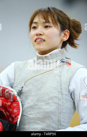 the JISS, Tokyo, Japan. 19th Apr, 2019. Sera Azuma (JPN), APRIL 19, 2019 - Fencing : Japan National Team Training Session at the JISS, Tokyo, Japan. Credit: Naoki Nishimura/AFLO SPORT/Alamy Live News - Stock Photo