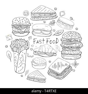 Set of different fast food elements in circle shape on white background. Street food collection black and white. - Stock Photo