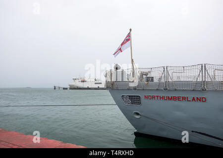 Cherbourg, France - August 26, 2018: HMS Northumberland is a Type 23 frigate of the Royal Navy in the port of Cherbourg-Octeville. Normandy, France - Stock Photo