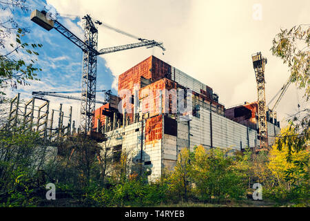 Abandoned territory in Ukraine nearby Chernobyl Nuclear Power Plant.  It was evacuated on the 27th of April 1986, day after the most devastating nucle - Stock Photo