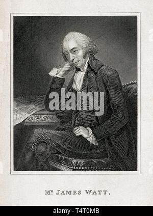 James Watt (1736-1819) portrait engraving after C. F. von Breda, 1792 - Stock Photo