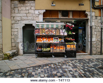 Views of the Local Market selling Fruit in Barri Vell Girona Spain - Stock Photo