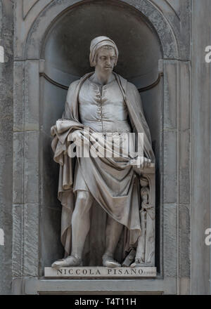 Statue of Nicola Pisano in Florence, Capital of Tuscany, Italy - Stock Photo