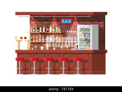 Drinking establishment. Interior of pub, cafe or bar. Bar counter, chairs and shelves with alcohol bottles, refrigerator. Glasses and lamp. Wooden dec - Stock Photo