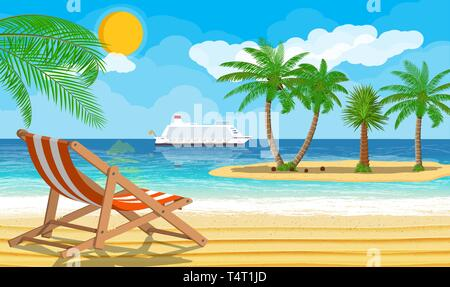 Landscape of wooden chaise lounge, palm tree on beach. Island with tropical trees. Cruise liner ship. Sun with reflection in water and clouds. Day in  - Stock Photo