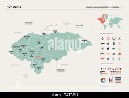 Vector map of Honduras.  High detailed country map with division, cities and capital Tegucigalpa. Political map,  world map, infographic elements. - Stock Photo