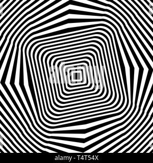 Black and white lines optical illusion. Vector illustration Stock Photo