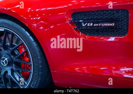 Nonthaburi, Thailand - April 3, 2019: Mercedes Benz AMG GT V8 BITURBO side vent presented in Motor Show 2019 - Stock Photo