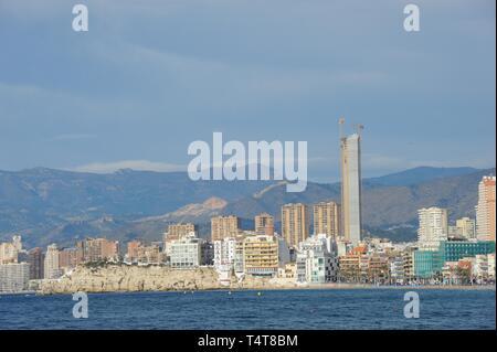 Skyline of Benidorm, Costa Blanca, Spain, Europe - Stock Photo
